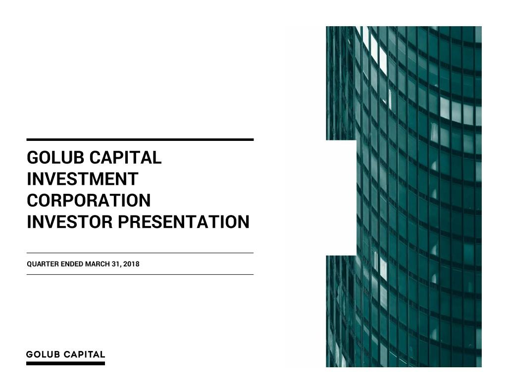 GOLUB CAPITAL INVESTMENT Corp logo